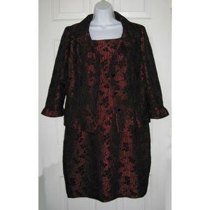 Virgo Sheath Dress & Jacket Red Black Holiday 14P